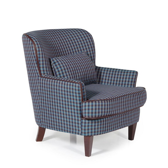 Sonder Fabric Lounge Chair In Blue With Wooden Legs