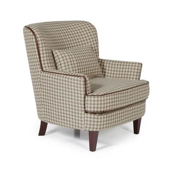 Sonder Fabric Lounge Chair In Cream With Wooden Legs