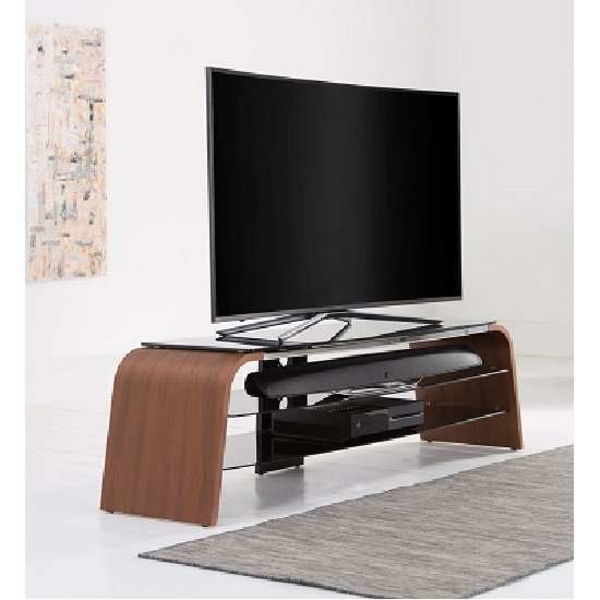 Sonic Large Wooden TV Stand In Walnut With Black Glass