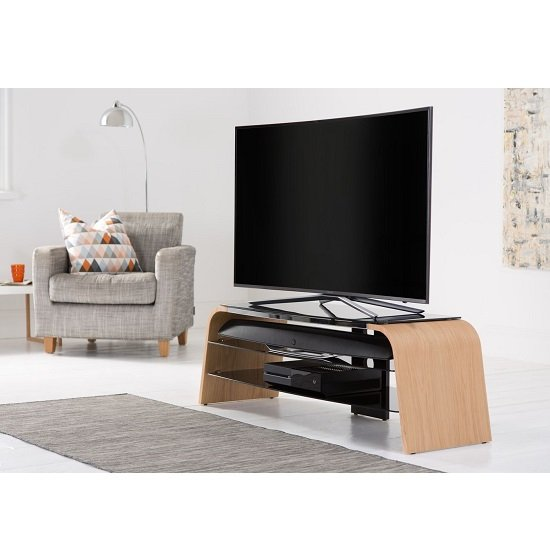 Sonic Medium Wooden TV Stand In Light Oak With Black Glass