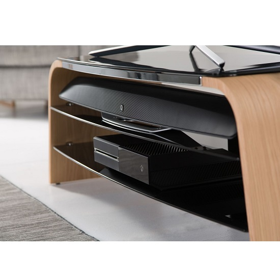 Sonic Medium Wooden TV Stand In Light Oak With Black Glass_2