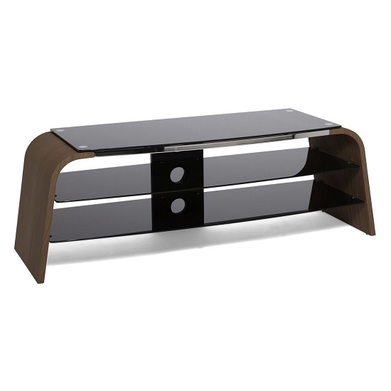 Sonic Medium Wooden TV Stand In Walnut With Black Glass