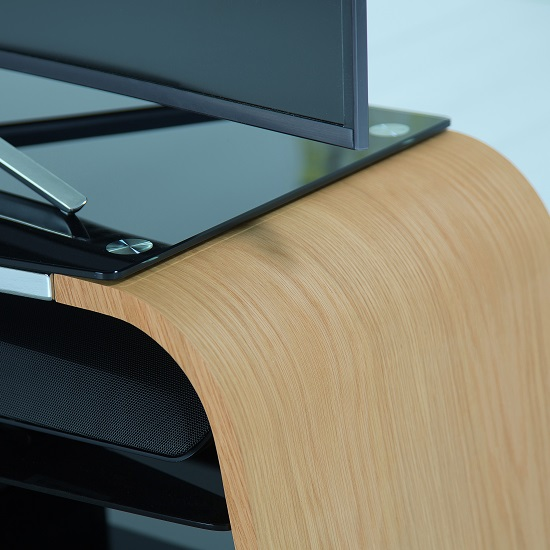 Sonic Wooden TV Stand In Light Oak With Black Glass_2