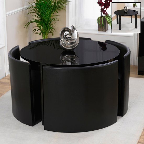 Lexus Gloss Black Round Dining Table And 4 Sophia