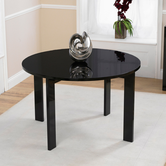 Lexus Gloss Black Round Dining Table Only