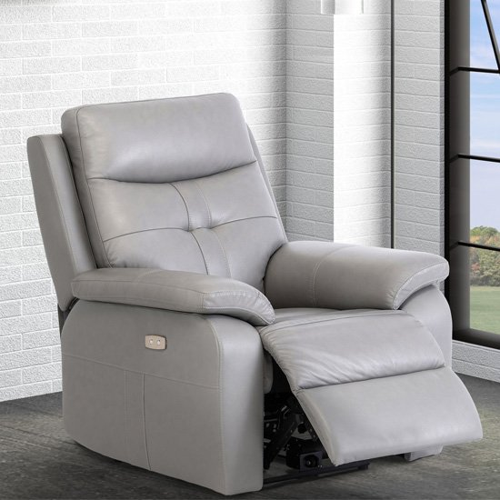 Sophia Faux Leather Electric Recliner Armchair In Grey