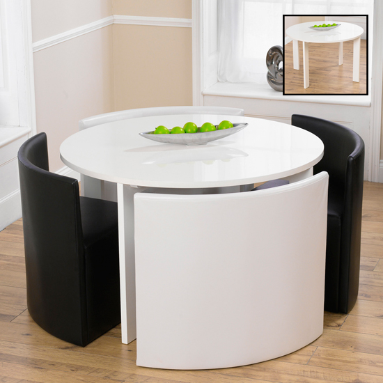 Read more about Lexus gloss white round table and 4 sophia chairs