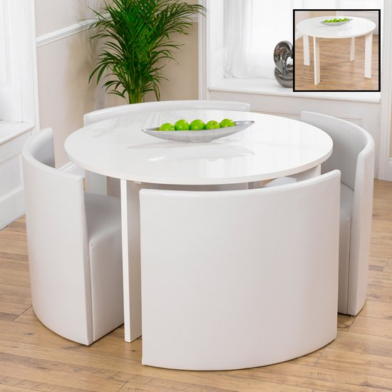 White Dining Room Tables And Chairs: Lexus Gloss White Round Dining Table And 4 White Sophia