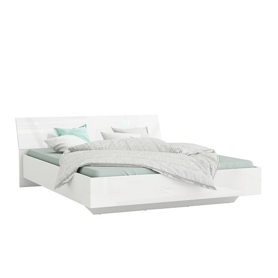 Sophia Modern Double Bed In White High Gloss