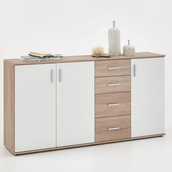 Sophia wooden large sideboard in canadian oak and white Wooden furniture canada