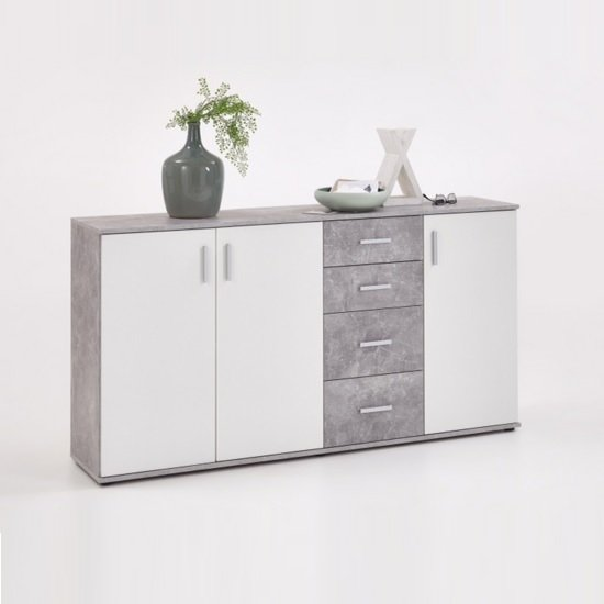 Sophia Wooden Large Sideboard In Light Atelier And White
