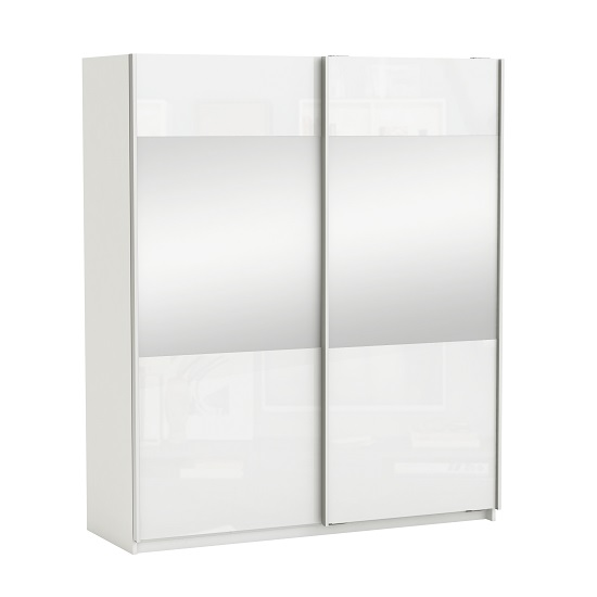 Sophia Sliding Wardrobe In White Gloss Fronts With 2 Doors