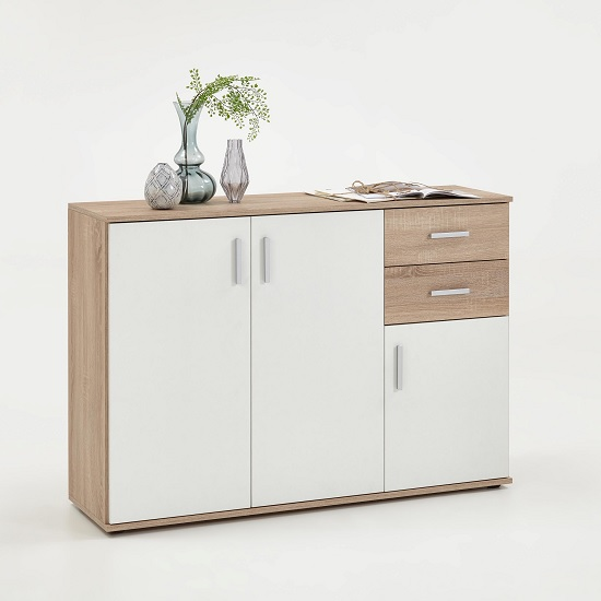 Sophia Wooden Sideboard In Canadian Oak And White