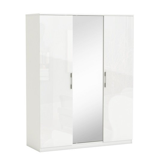 Sophia Mirrored Wardrobe In White Gloss Fronts With 3 Doors