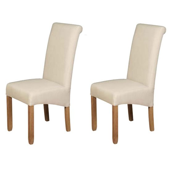Sophie Beige Fabric Dining Chair In A Pair
