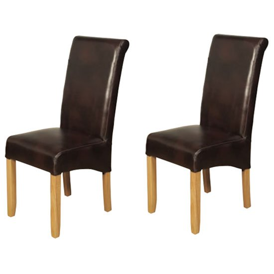 Sophie Brown Faux Leather Dining Chair In A Pair
