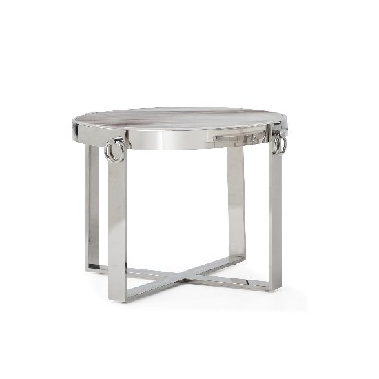 Sophie Marble End Table With Polished Stainless Steel Frame