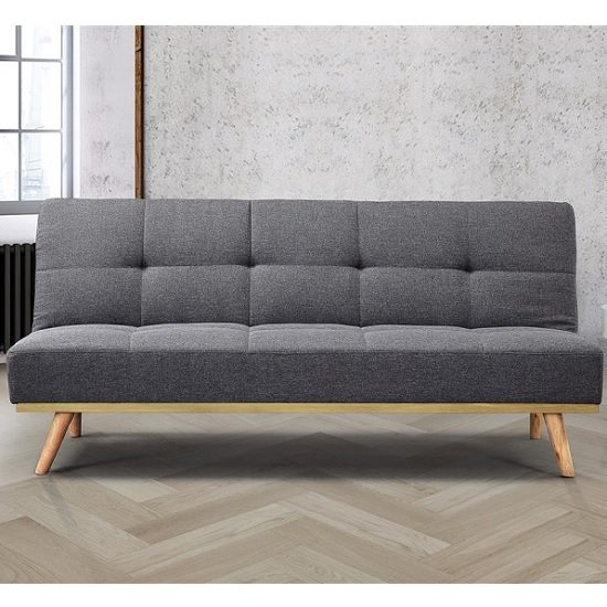 Soren Fabric Sofa Bed In Grey With Wooden Legs_2