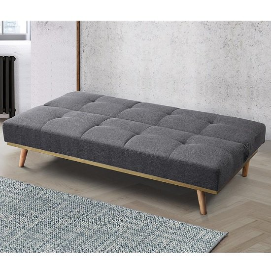 Soren Fabric Sofa Bed In Grey With Wooden Legs_3