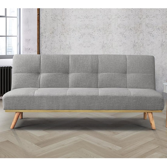 Soren Fabric Sofa Bed In Light Stone Grey With Wooden Legs_2