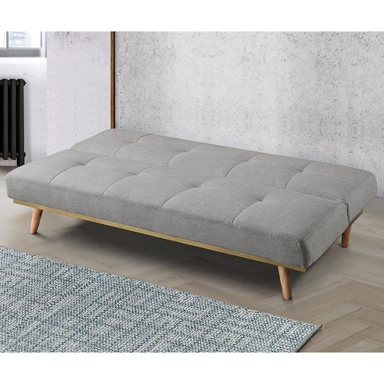 Soren Fabric Sofa Bed In Light Stone Grey With Wooden Legs_3