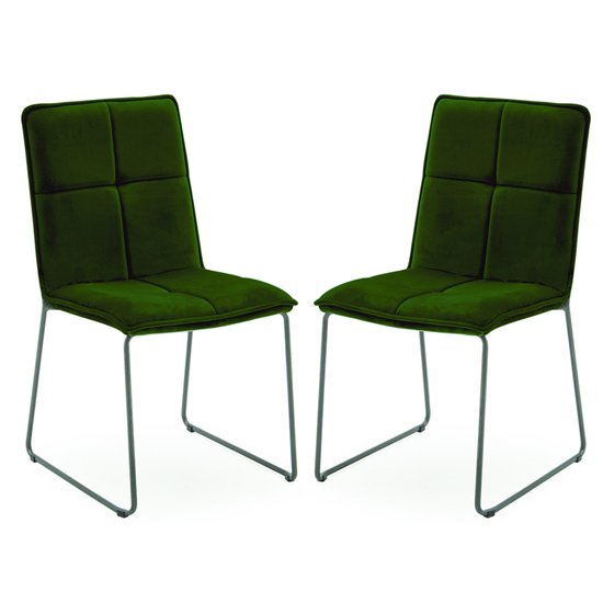 Soren Green Velvet Dining Chairs With Black Legs In Pair