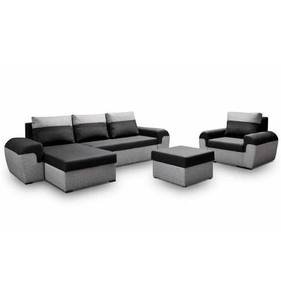 Soren Corner Sofa Bed Set With Stool In Grey And Black