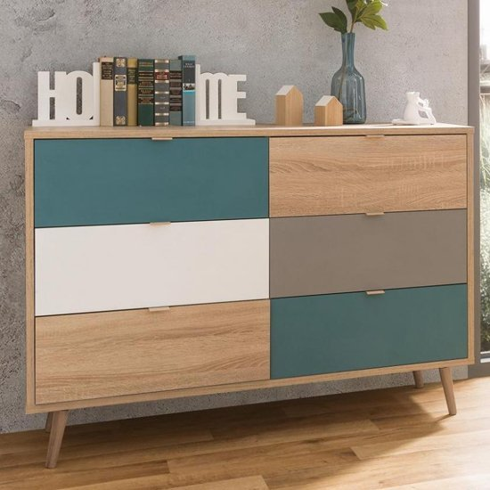 Sorio Chest Of Drawers In Sonoma Oak And Tricolor With 6 Drawers