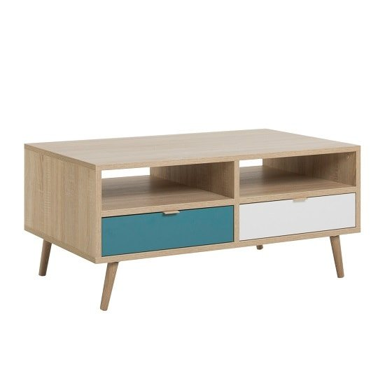 Sorio Coffee Table In Sonoma Oak And Tricolor With 2 Drawers