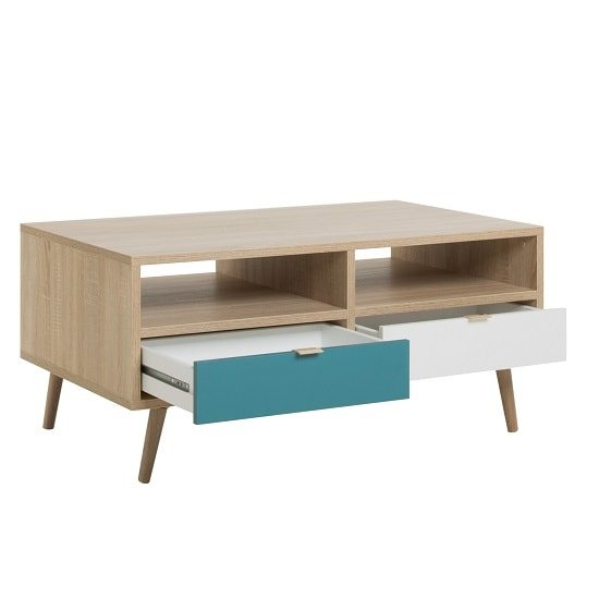 Sorio Coffee Table In Sonoma Oak And Tricolor With 2 Drawers_2