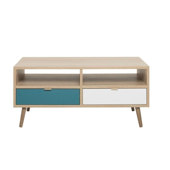 Sorio Coffee Table In Sonoma Oak And Tricolor With 2 Drawers_3