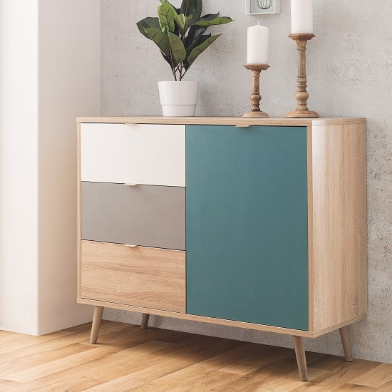 Sorio Compact Sideboard In Sonoma Oak And Tricolor With 1 Door