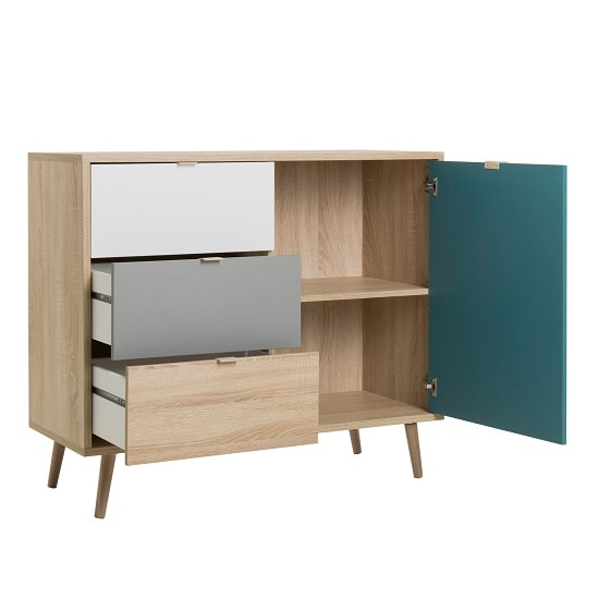 Sorio Compact Sideboard In Sonoma Oak And Tricolor With 1 Door_2