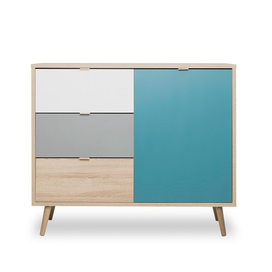 Sorio Compact Sideboard In Sonoma Oak And Tricolor With 1 Door_3