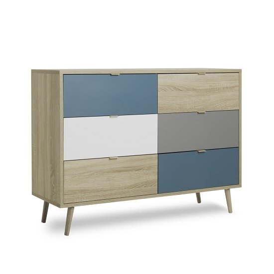 Sorio Wooden Chest Of Drawers In Sonoma Oak And Tricolor
