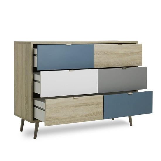 Sorio Wooden Chest Of Drawers In Sonoma Oak And Tricolor_2