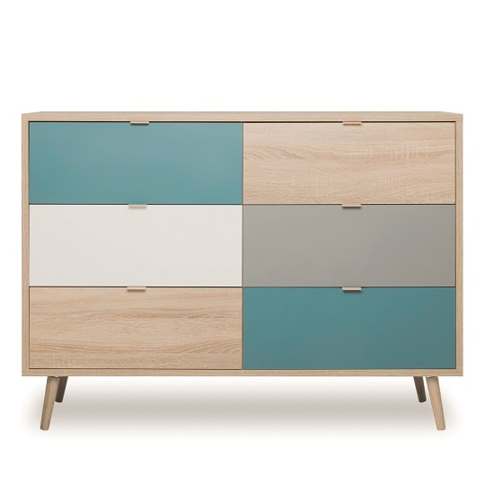 Sorio Wooden Chest Of Drawers In Sonoma Oak And Tricolor_3