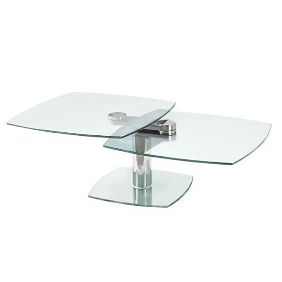Sorio Swivel Extending Glass Coffee Table In Clear