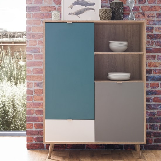 Sorio Highboard In Sonoma Oak And Tricolor With 2 Doors