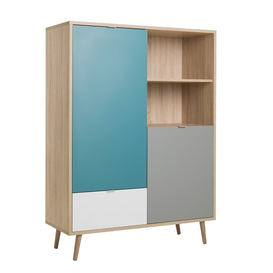 Sorio Highboard In Sonoma Oak And Tricolor With 2 Doors_3