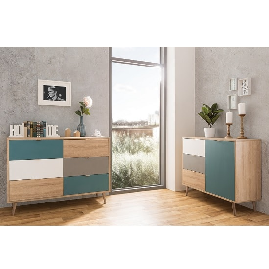 Sorio Compact Sideboard In Sonoma Oak And Tricolor With 1 Door_6