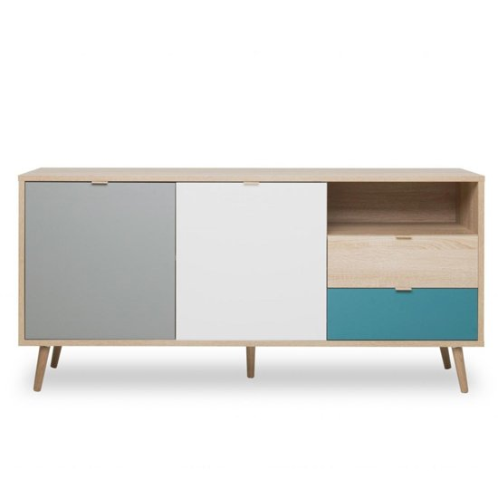 Sorio Sideboard In Sonoma Oak And Tricolor With 2 Doors 2 Drawer_3