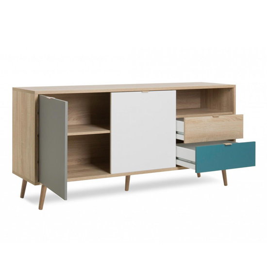 Sorio Sideboard In Sonoma Oak And Tricolor With 2 Doors 2 Drawer_5