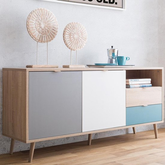 Sorio Sideboard In Sonoma Oak And Tricolor With 2 Doors 2 Drawer