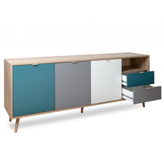 Sorio Sideboard In Sonoma Oak And Tricolor With 3 Doors 2 Drawer_4