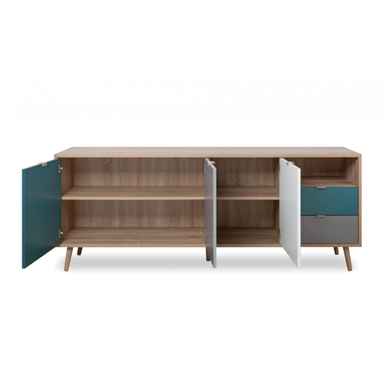 Sorio Sideboard In Sonoma Oak And Tricolor With 3 Doors 2 Drawer_5