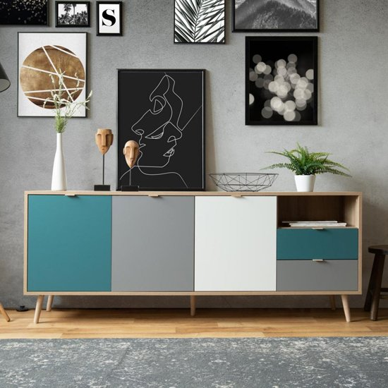 Sorio Sideboard In Sonoma Oak And Tricolor With 3 Doors 2 Drawer_1