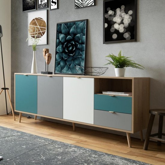 Sorio Sideboard In Sonoma Oak And Tricolor With 3 Doors 2 Drawer_7