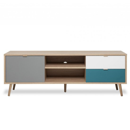Sorio TV Unit In Sonoma Oak And Tricolor With 1 Door 2 Drawers_3