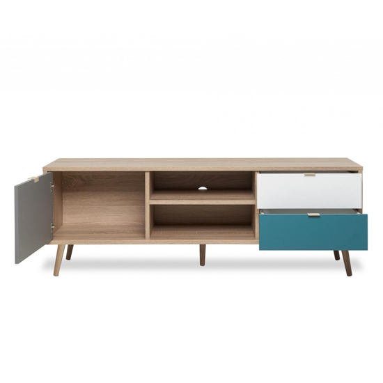 Sorio TV Unit In Sonoma Oak And Tricolor With 1 Door 2 Drawers_4
